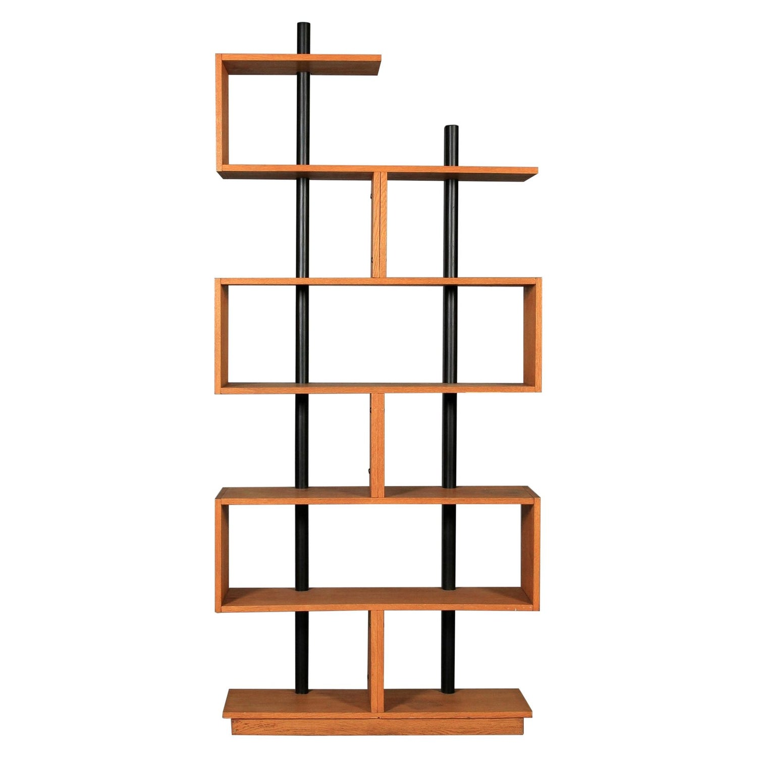 Charlotte Perriand Style Vintage Bookcase Freestanding Teak Ebonized Cloud