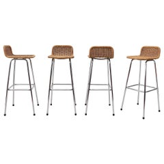 Charlotte Perriand Style Wicker and Chrome Bar Stools