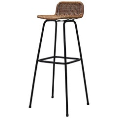 Charlotte Perriand Style Wicker Bar Stool