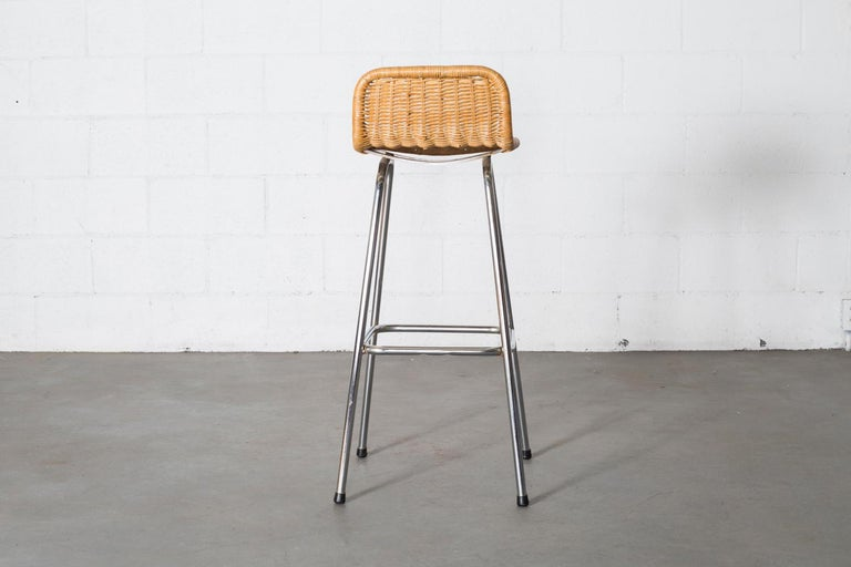 Late 20th Century Charlotte Perriand Style Wicker Bar Stools For Sale