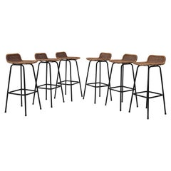 Charlotte Perriand Style Wicker Bar Stools