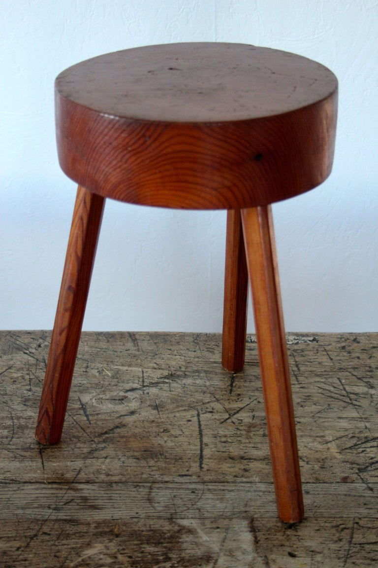 Charlotte Perriand style wood stool.