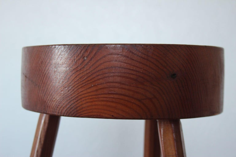 European Charlotte Perriand Style Wood Stool For Sale