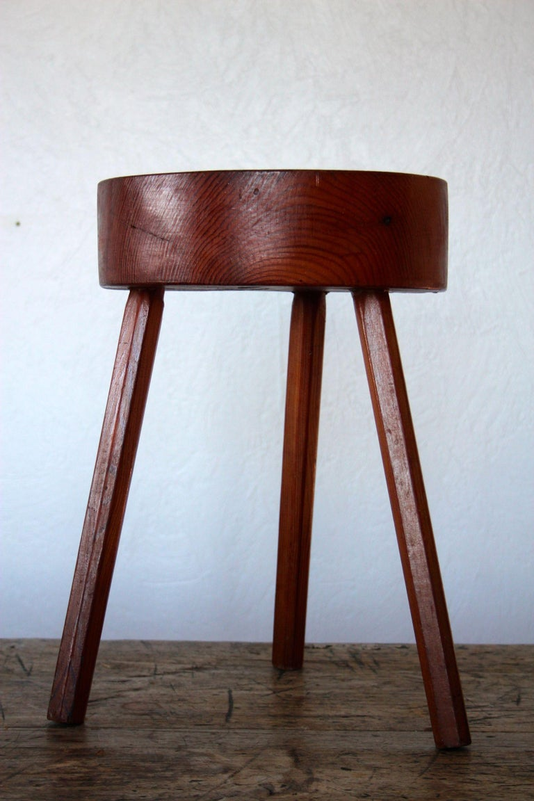 Mid-20th Century Charlotte Perriand Style Wood Stool For Sale