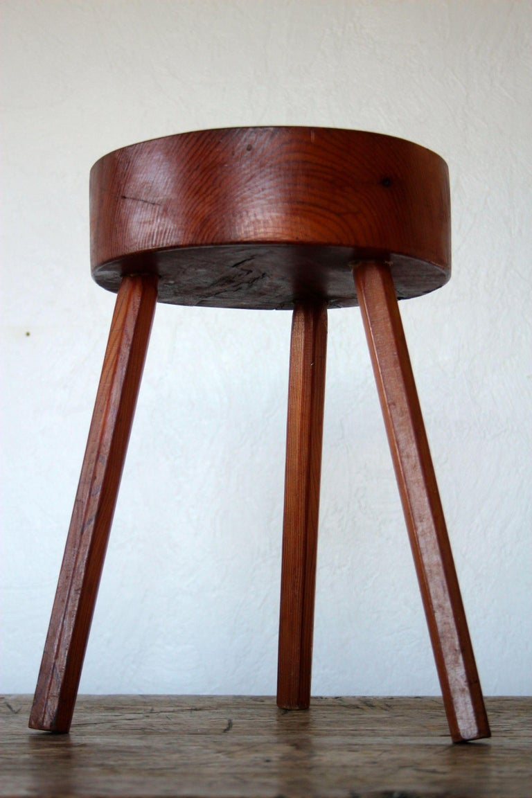 Charlotte Perriand Style Wood Stool For Sale 1