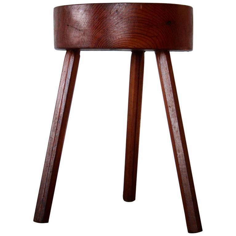Charlotte Perriand Style Wood Stool For Sale