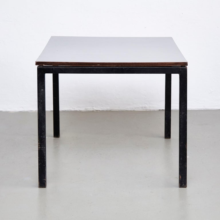 French Charlotte Perriand, Mid Century Modern, Wood Formica and Metal Table, circa 1950