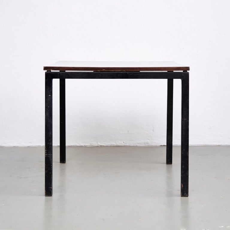 Charlotte Perriand, Mid Century Modern, Wood Formica and Metal Table, circa 1950 In Good Condition In Barcelona, Barcelona