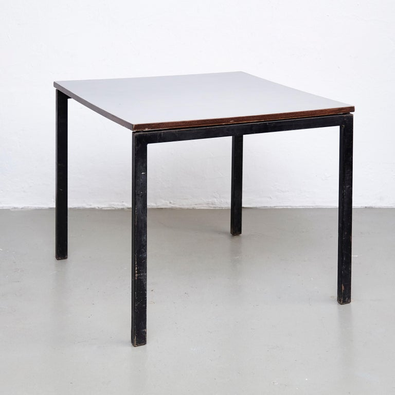 Mid-20th Century Charlotte Perriand, Mid Century Modern, Wood Formica and Metal Table, circa 1950
