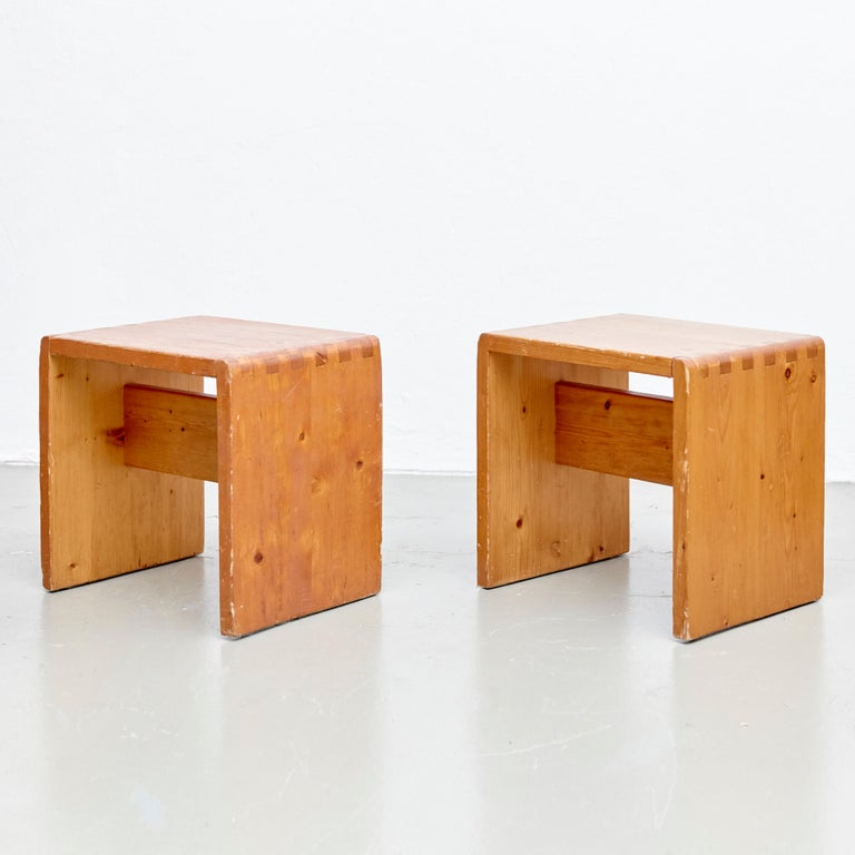 Charlotte Perriand Table, Stools and Bench for Les Arcs For Sale 3