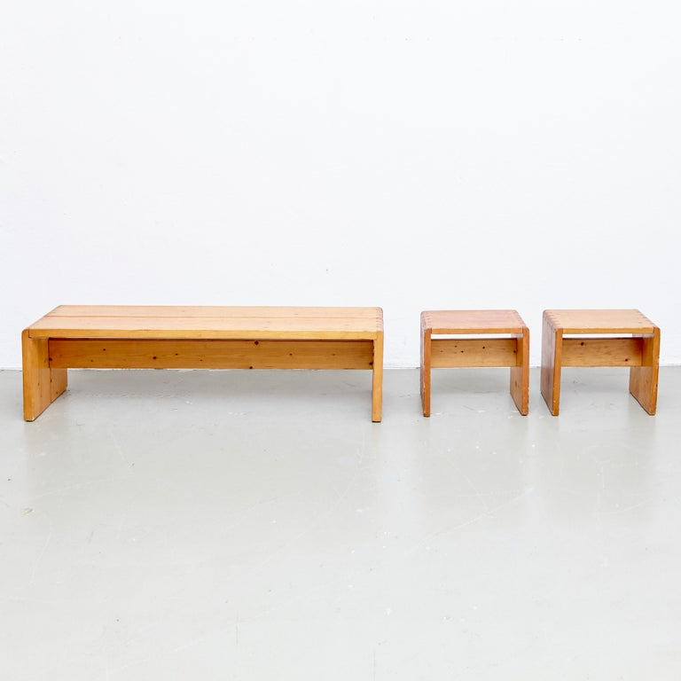Charlotte Perriand Table, Stools and Bench for Les Arcs For Sale 1