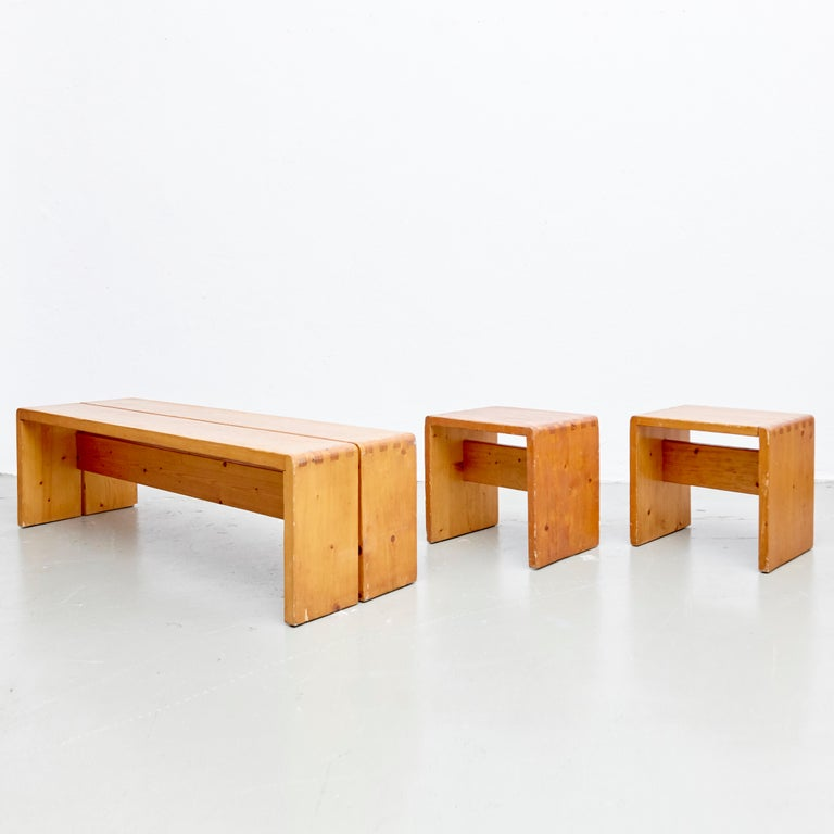 Charlotte Perriand Table, Stools and Bench for Les Arcs For Sale 2