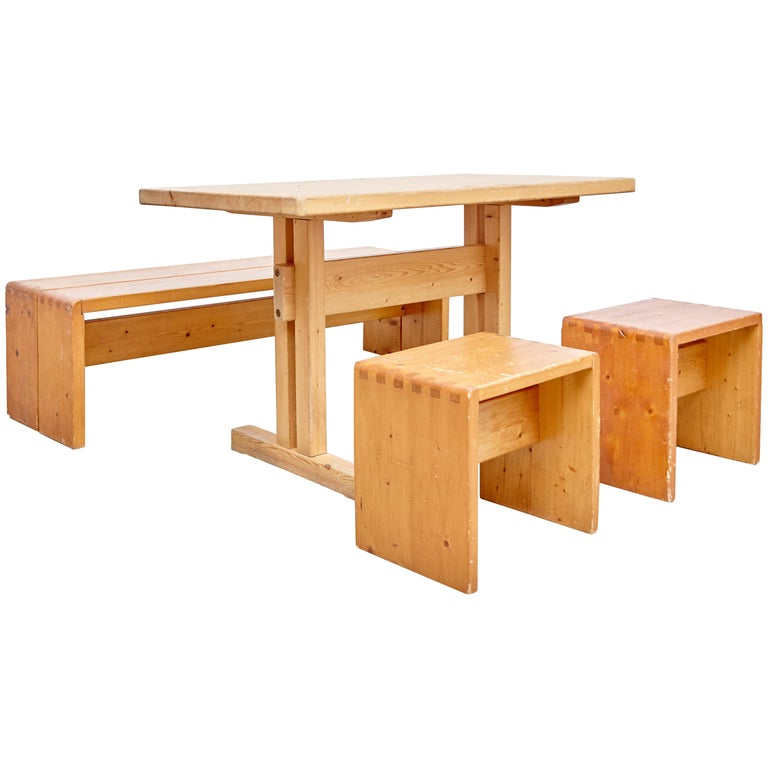 Charlotte Perriand Table, Stools and Bench for Les Arcs For Sale