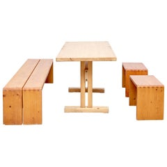 Charlotte Perriand Table, Stools and Bench for Les Arcs