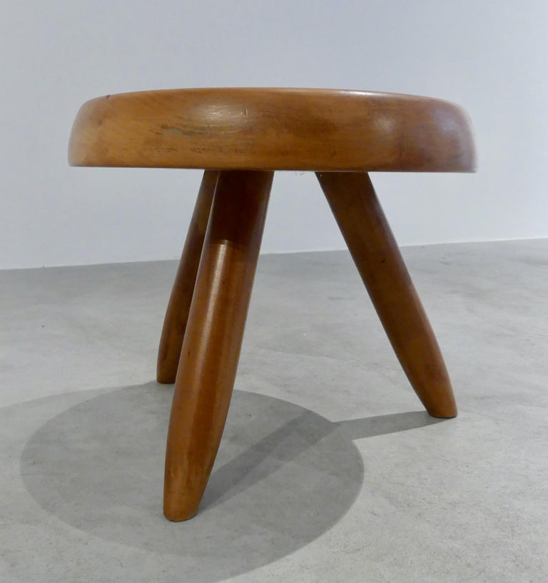 Low stool made of oakwood, from the 1960s.  Measures: 10 7/8 x 12 3/4 in.   Original stool by Charlotte Perriand   Oakwood   1960s  40 cm   Provenance: Private collection, France Possibility to have a pair or more.