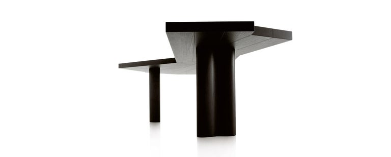 Italian Charlotte Perriand Ventaglio Wood Stained Black Table by Cassina For Sale