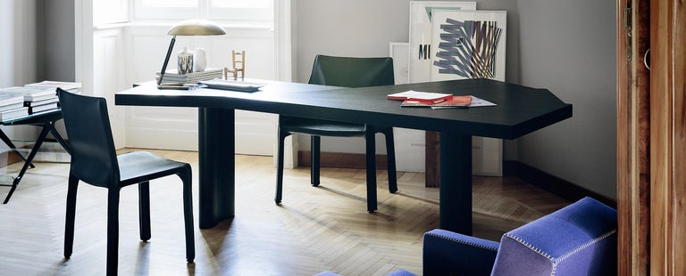 Charlotte Perriand Ventaglio Wood Stained Black Table by Cassina In New Condition For Sale In Barcelona, Barcelona