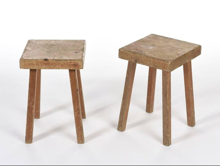 Charlotte Perriand's Square Stools In Fair Condition For Sale In Paris, FR