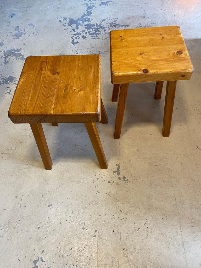 Wood Charlotte Perriand's Square Stools For Sale