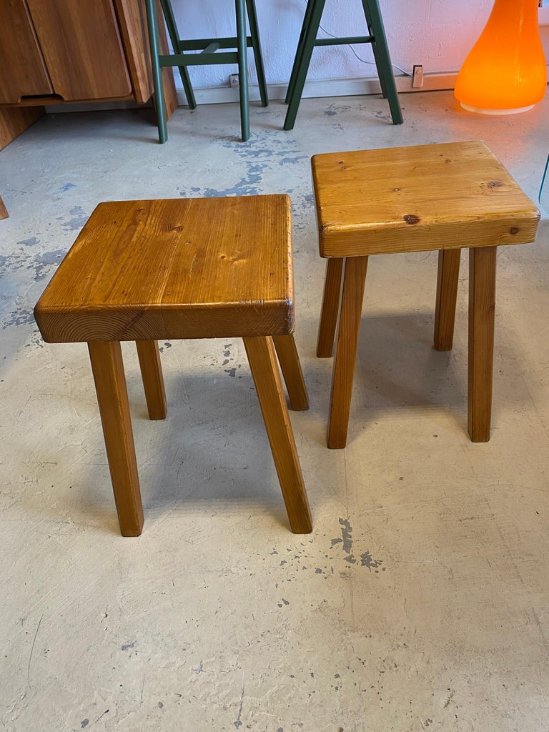 Charlotte Perriand's Square Stools For Sale 1