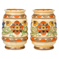 Charlotte Rhead Pair of Art Deco Crown Ducal Tube Lined Pottery Vases