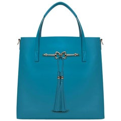 Charlotte Tote - Caribbean Blue Leather Handbag