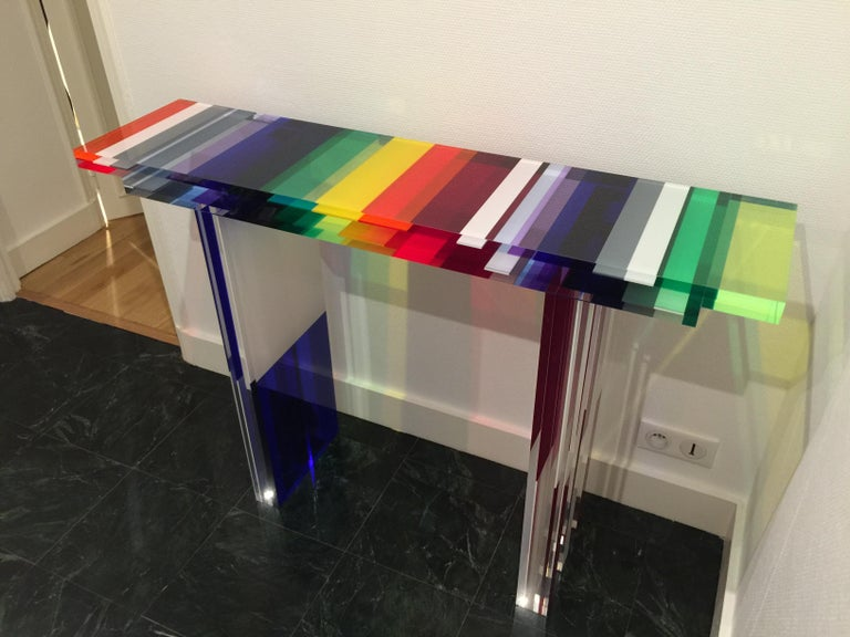French Charly Bounan, Unique Colorful Console For Sale