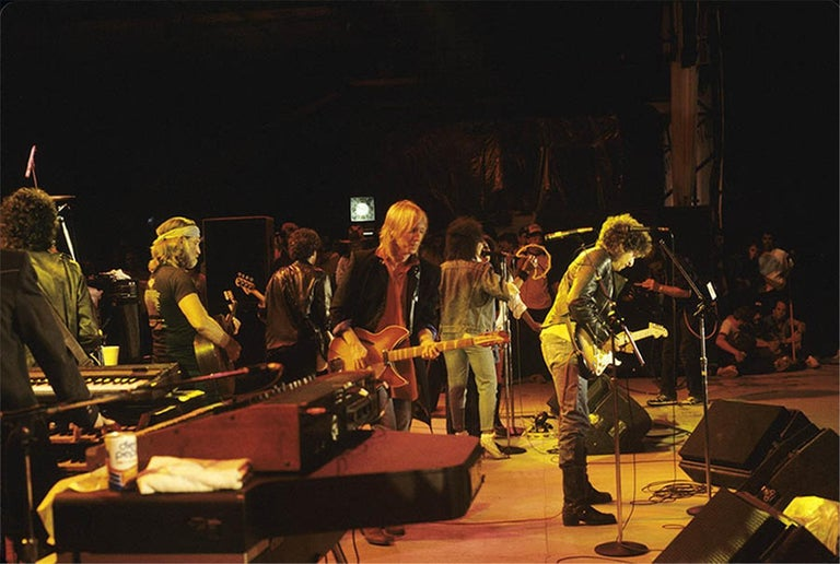 Charlyn Zlotnik Color Photograph - Willie Nelson, Tom Petty, and Bob Dylan, Farm Aid, 1985
