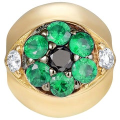 Sybarite Jewellery Diamond Charm 18 Karat Yellow Gold Round Cut Emeralds