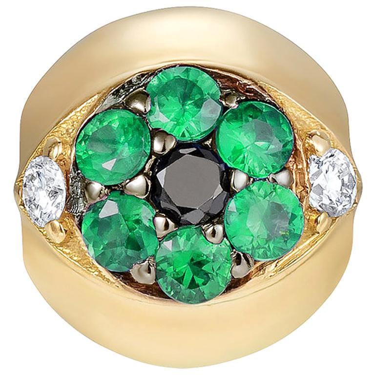 Sybarite Jewellery Diamond Charm 18 Karat Yellow Gold Round Cut Emeralds