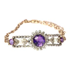 Charm Antique Gold Bracelet with Amethyst Diamonds and Pearls, 1860s