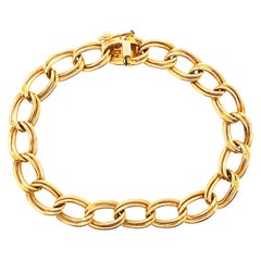 Charm Bracelet 14K Gold w Lg Links and Heavy Safety Clasp circa 1979, Gold Charm