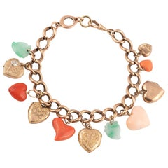 Charm Bracelet Suspending Heart-Shaped Charms