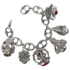 Charm Bracelet Victorian Revival Midcentury, Italy