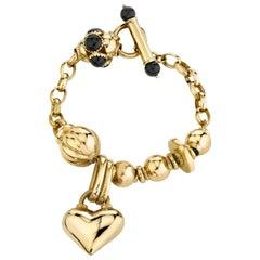 Charm Heart Bracelet with Onyx 18 Karat Yellow Gold