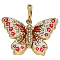 Charm Pendant Yellow Gold White Diamonds Hand Decorated with Micro Mosaic