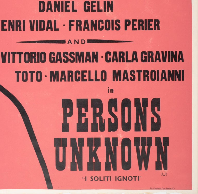 Charmants Garcons/Persons Unknown 1959 Academy Cinema Film Poster, Strausfeld For Sale 2