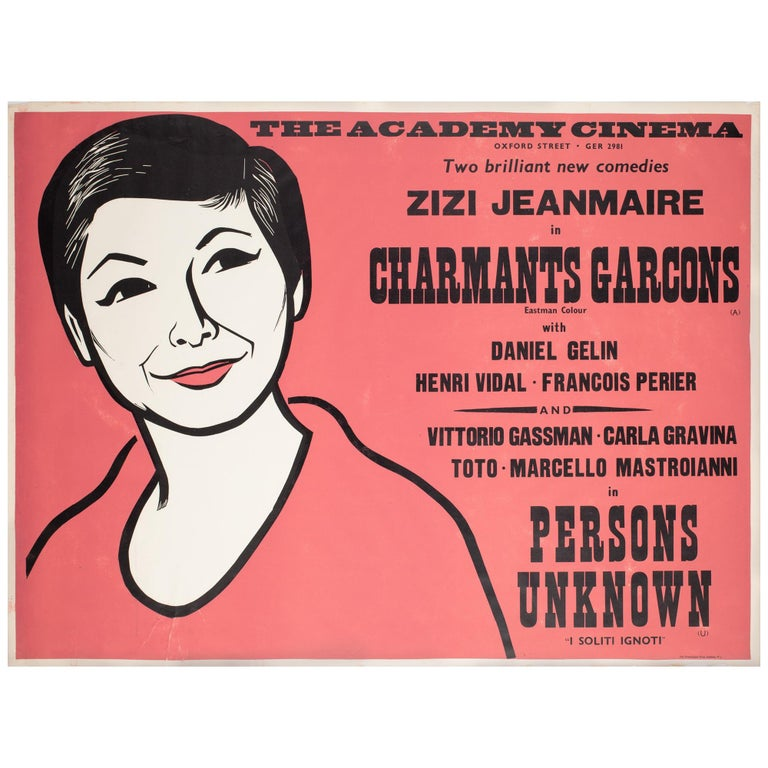 Charmants Garcons/Persons Unknown 1959 Academy Cinema Film Poster, Strausfeld For Sale
