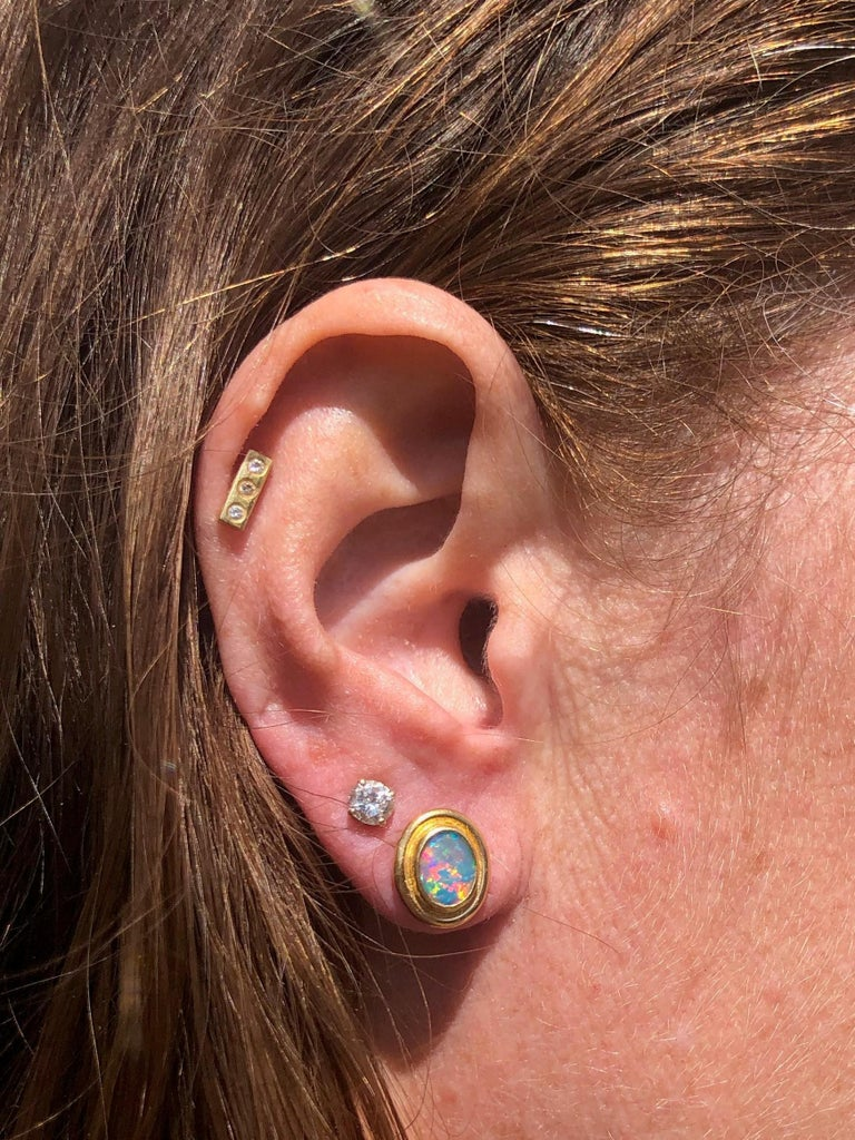 Charmian Harris Opal Stud Earrings with 22 Karat Yellow Gold In New Condition For Sale In Devon, GB