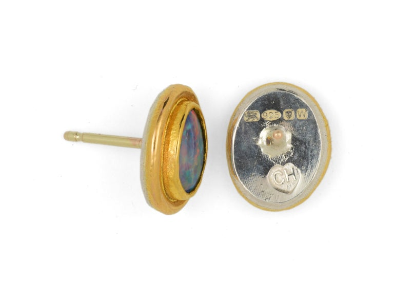 Artisan Charmian Harris Opal Stud Earrings with 22 Karat Yellow Gold For Sale