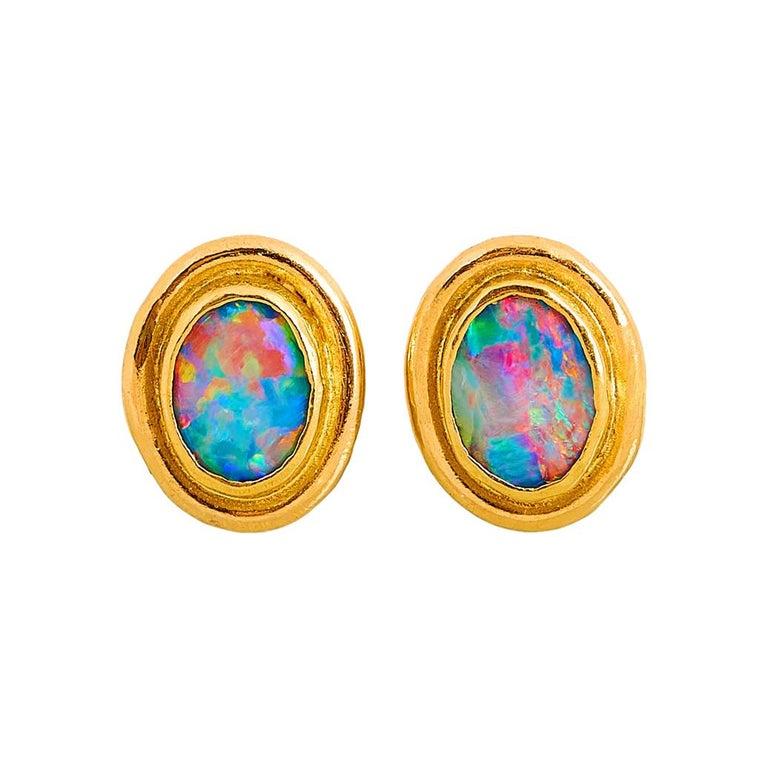 Charmian Harris Opal Stud Earrings with 22 Karat Yellow Gold For Sale