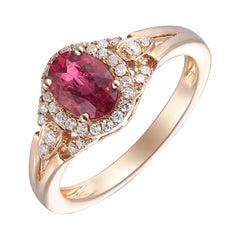 Charming 14 Karat Pink Gold Diamond, and Ruby Ring