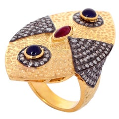 Charming 14K Yellow Gold Evil Eye Ring Set with Diamond, Ruby and Sapphire