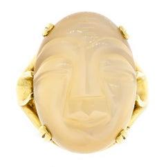 Charming 14 Karat Yellow Gold Carved Moonstone Ladies Ring