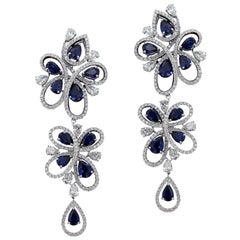 Charming 18 Karat White Gold, Diamond and Sapphire Earrings
