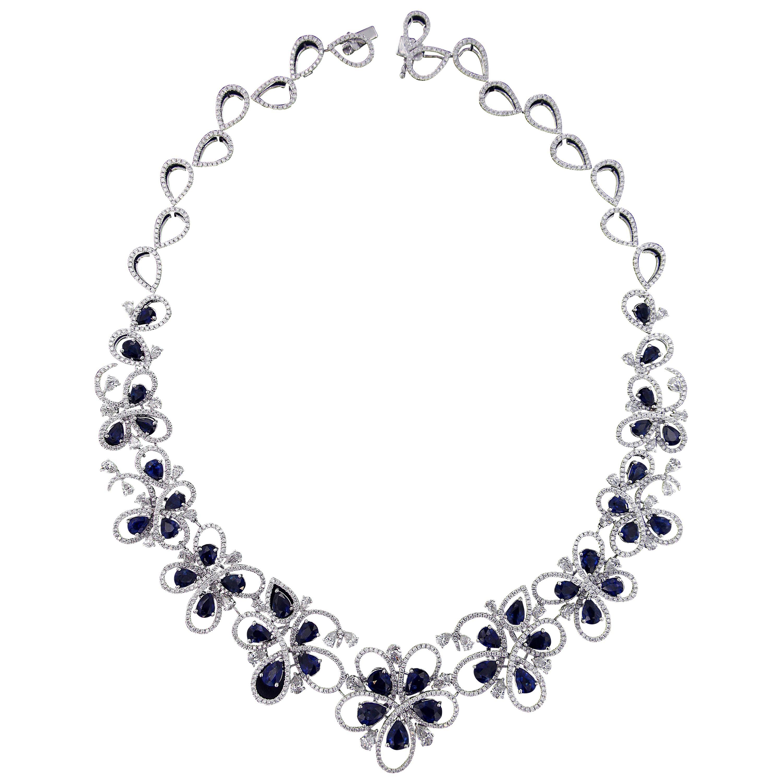 Charming 18 Karat White Gold, Diamond and Sapphire Necklace