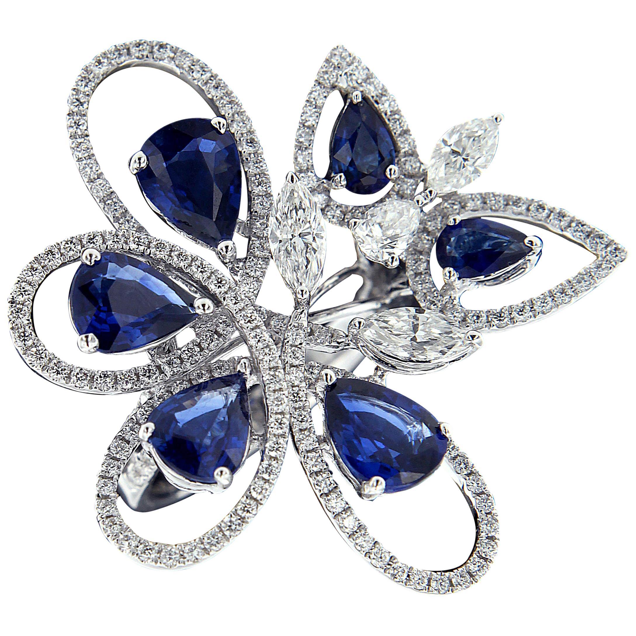 Charming 18 Karat White Gold, Diamond and Sapphire Rings