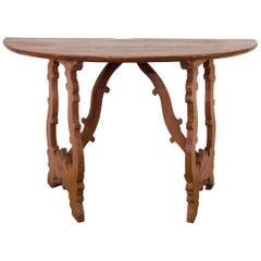 Charming 18th Century Italian Demilune Lyre-Leg Fruitwood Table