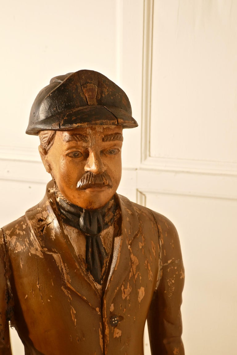 Charming 1920s Wooden Fireman Sculpture,    Charming Folk Art painted wooden statue of a pre-war of a fireman, A great little piece he is in sound condition, he has had a repair to his hat and there is a small piece of his right hand missing,