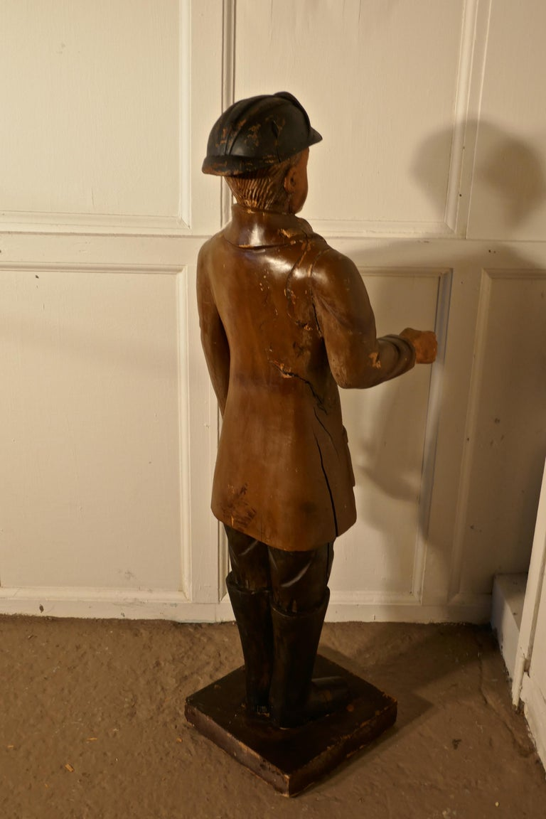 Charming 1920s Wooden Fireman Sculpture In Fair Condition For Sale In Chillerton, Isle of Wight